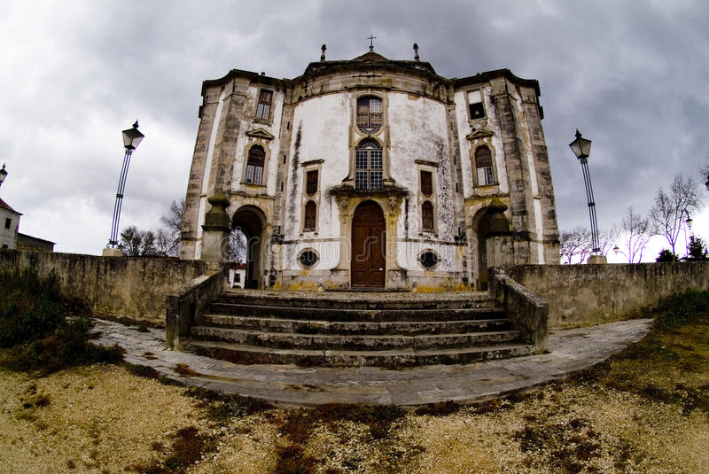 Lovecraftian church, Obidos, Portugal. Actually Santuario do Senhor Jesus da Pedra in Obidos, Portugal. A hexagonal church built in the 1700's stock photo