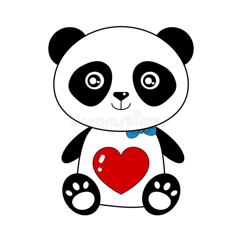 In loved panda teddy bear. In loved cute panda teddy bear, isolated on white background. AI format available royalty free illustration