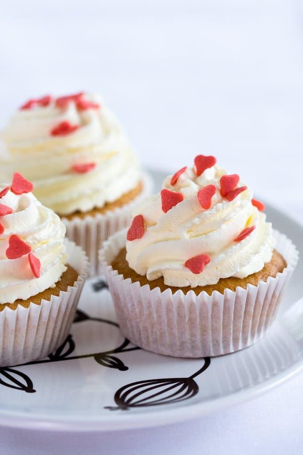Loveheart cupcakes royalty-vrije stock foto