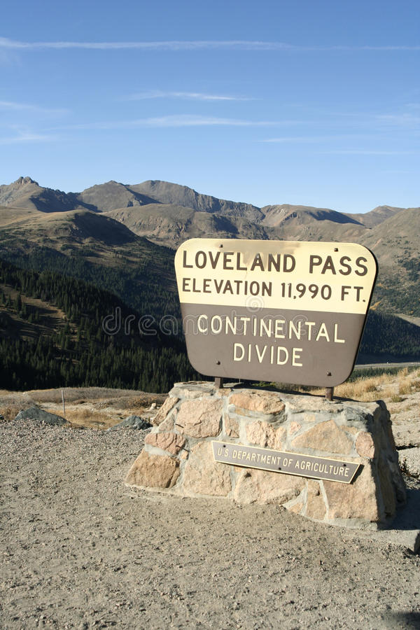 Loveland Pass - Colorado. At the peak of Loveland Pass, a high mountain pass in the Rocky Mountains of north-central Colorado, U.S.A. It is located on the stock images