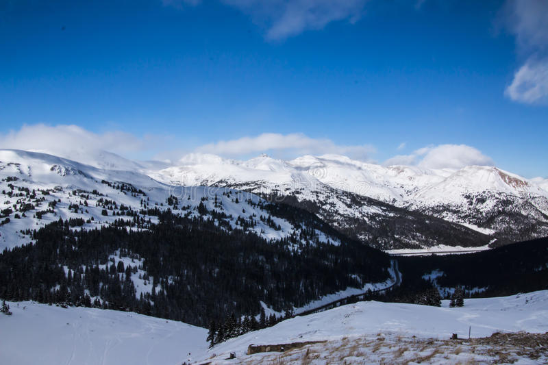 Loveland Pass in Colorado the Mountains. Loveland Pass is a high mountain pass in the western United States, at an elevation of 11,990 feet above sea level in stock photo
