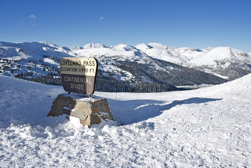 Loveland Pass Summit. In Winter. Colorado, United States royalty free stock image