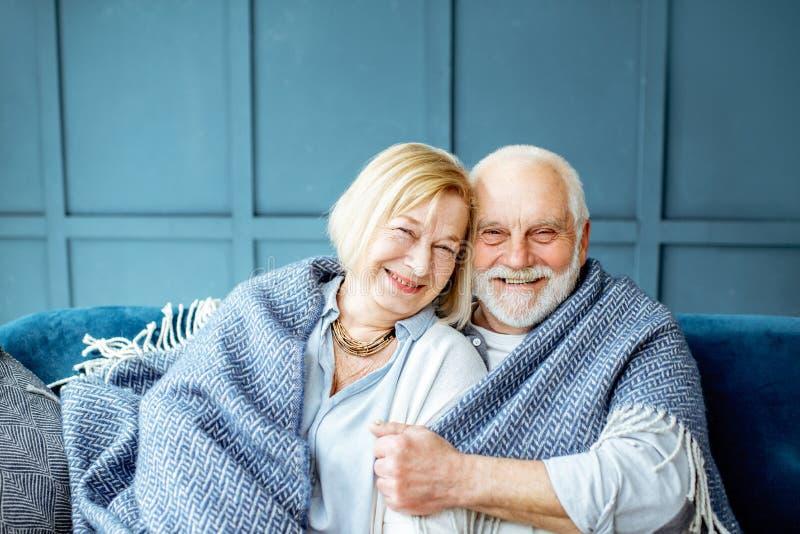 Lovele资深夫妇在家包裹了与格子花呢披肩 免版税库存图片