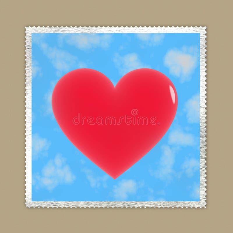 Loveletter: sello con el corazón rojo en sobre stock de ilustración