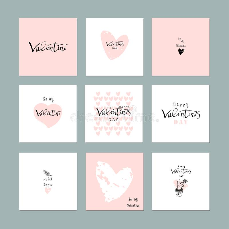 Lovely Abstract Hand Drawn Greeting Cards with traditional symbols of Valentine's Day. Cute cartoon gentle background for invitat stock illustration