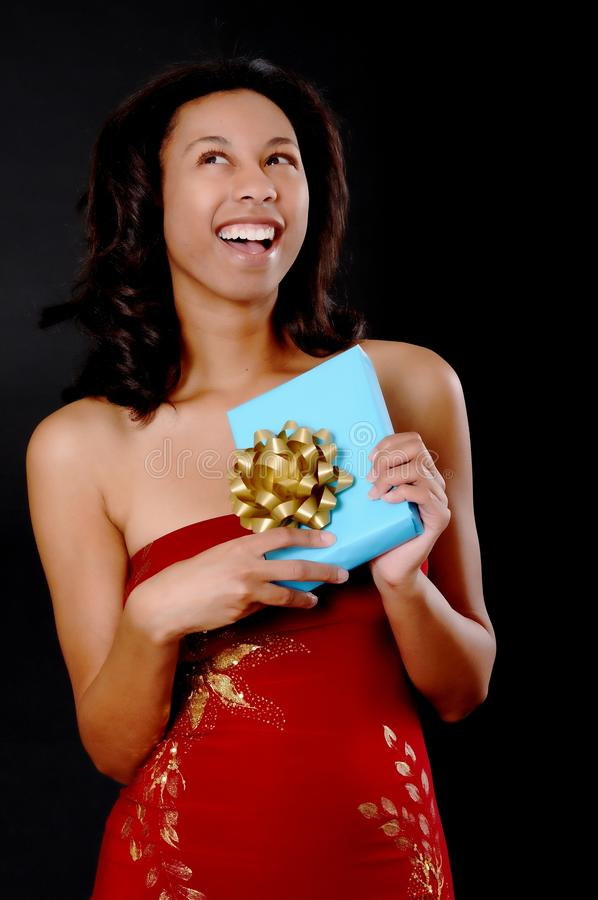 Download Lovely African American Girl With A Gift Stock Image - Image: 10532959