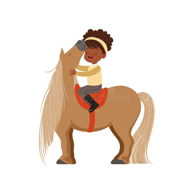 Lovely African American little girl riding pony horse, childrens equestrian sport vector Illustration stock illustration