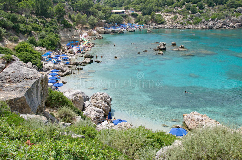 Lovely Anthony Quinn Beach on Rhodes with a turquoise sea royalty free stock photo