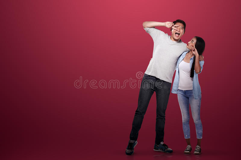 Lovely asian couple smiling. Valentine day concept royalty free stock photography
