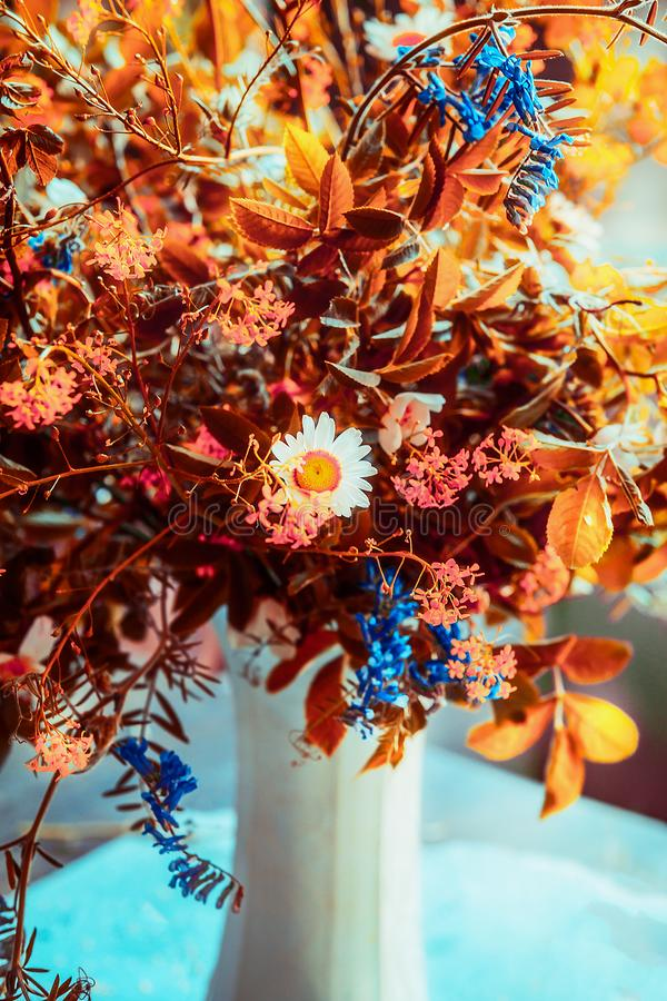 Lovely autumn flowers bunch in vase. Cozy home interior decoration. Fall still life. Front view stock photography