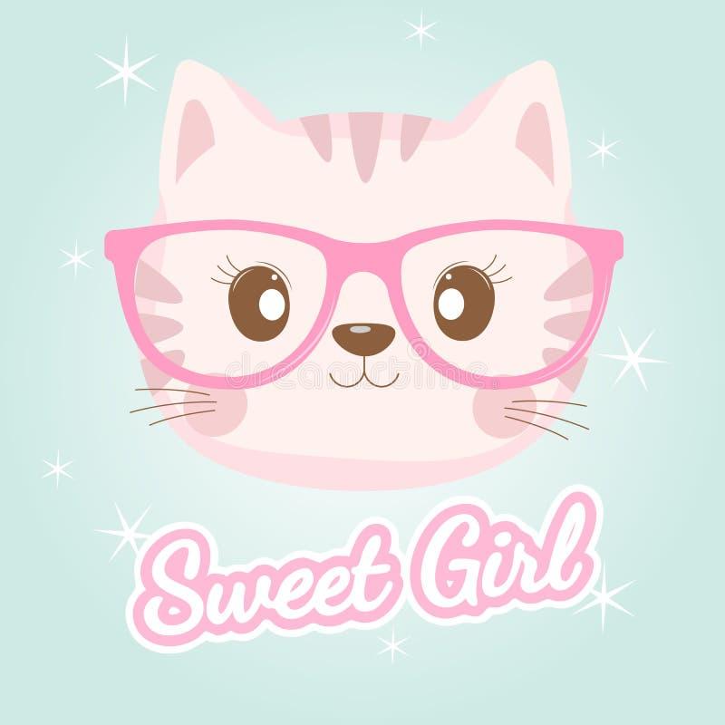 Lovely baby cat face in pink glasses. Illustration for children print design, kids t-shirt, baby wear. Vector greeting card stock illustration
