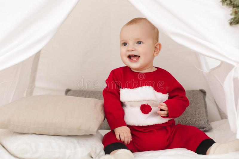 Cute baby in small tent stock photo