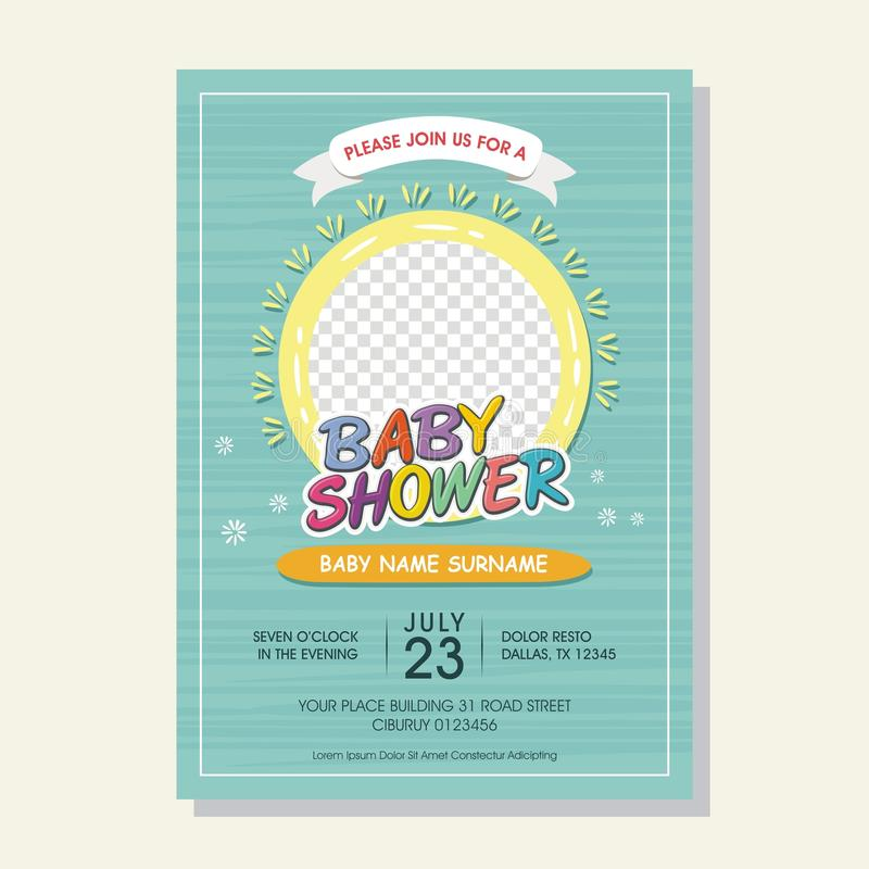 Lovely Baby Shower invitation card with cartoon style vector illustration