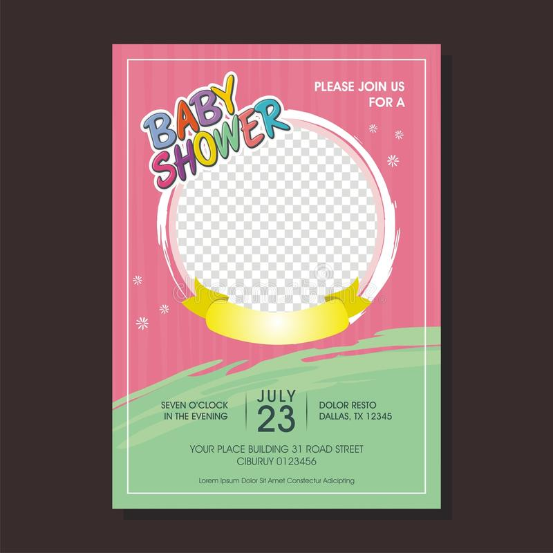 Lovely Baby Shower invitation card with cartoon style royalty free illustration