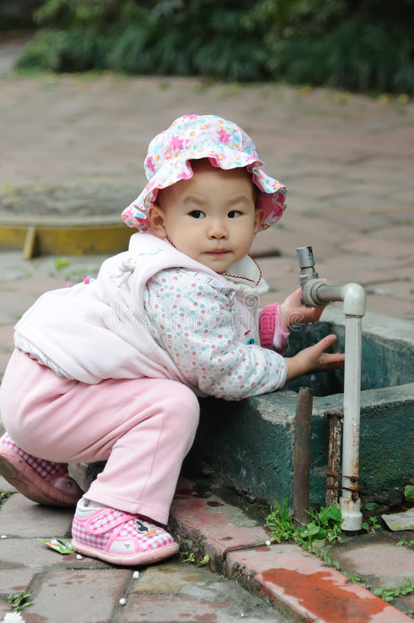 Download Lovely baby washing hand. stock photo. Image of cute - 17198038