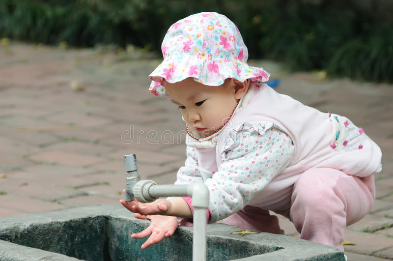 Download Lovely baby washing hand. stock image. Image of cheeks - 17198161