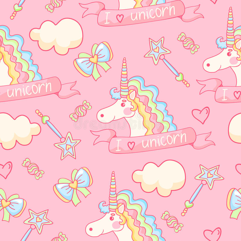 Lovely background. I love unicorn. Pink seamless pattern with cute unicorn, candys, bow, cloud, magic wand and hearts. Lovely background. I love unicorn vector illustration
