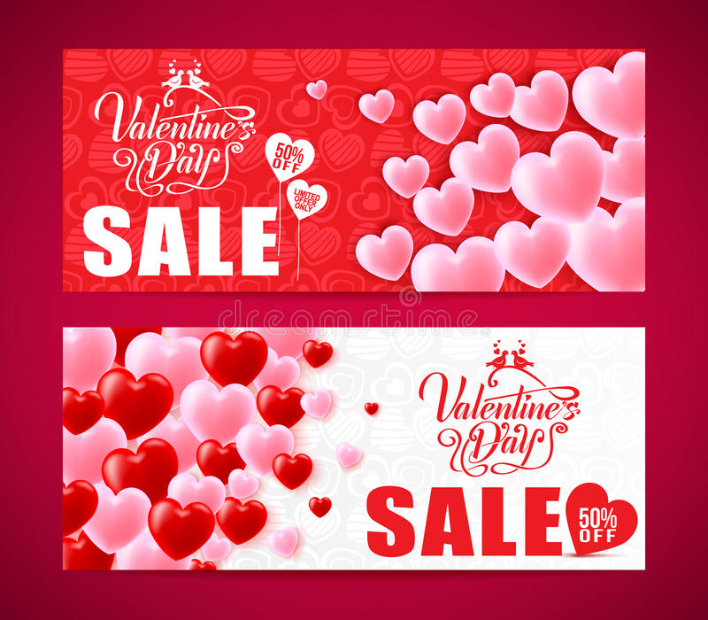 Lovely Banners Of Valentines Day Sale With Red And Pink Hearts royalty free illustration
