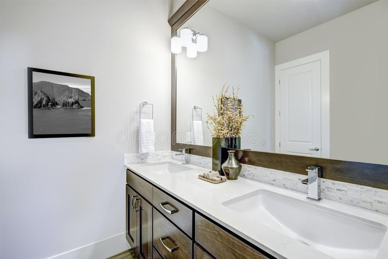 Lovely bathroom with dark brown vanity cabinet. Lovely bathroom features dark brown vanity cabinet with double sinks, mirror and mosaic subway tile backsplash royalty free stock image