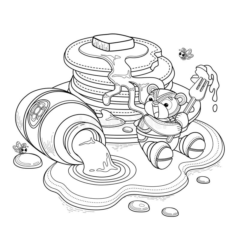 Lovely bear adult coloring page royalty free illustration