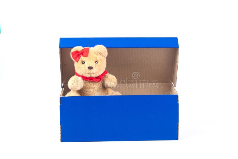 Lovely bear toy in blue box gift on white. Background stock photos