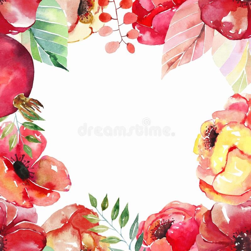 Lovely beautiful bright autumn wonderful colorful herbal floral red yellow orange flowers with green red yellow leaves frame stock illustration