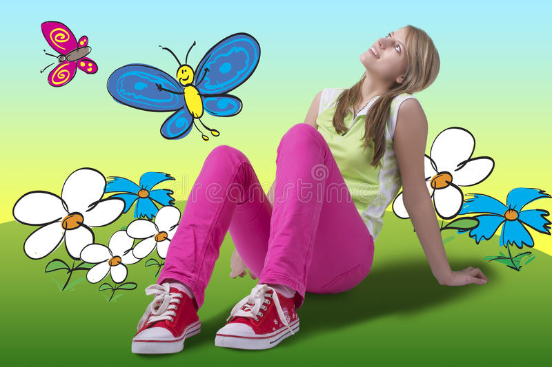Happy dreamful springtime girl looking up royalty free stock image