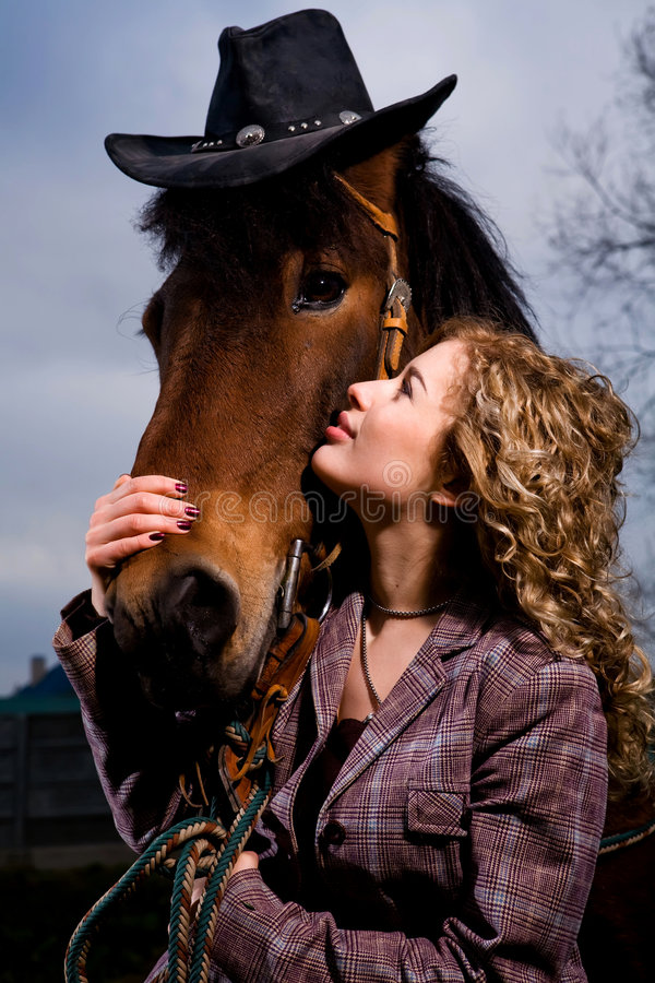Download Lovely Blond Woman By Horse Stock Image - Image: 9049483