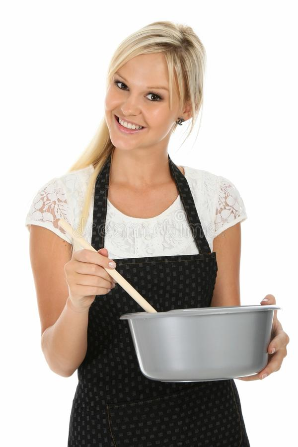 Lovely Blonde Cooking Woman stock photography