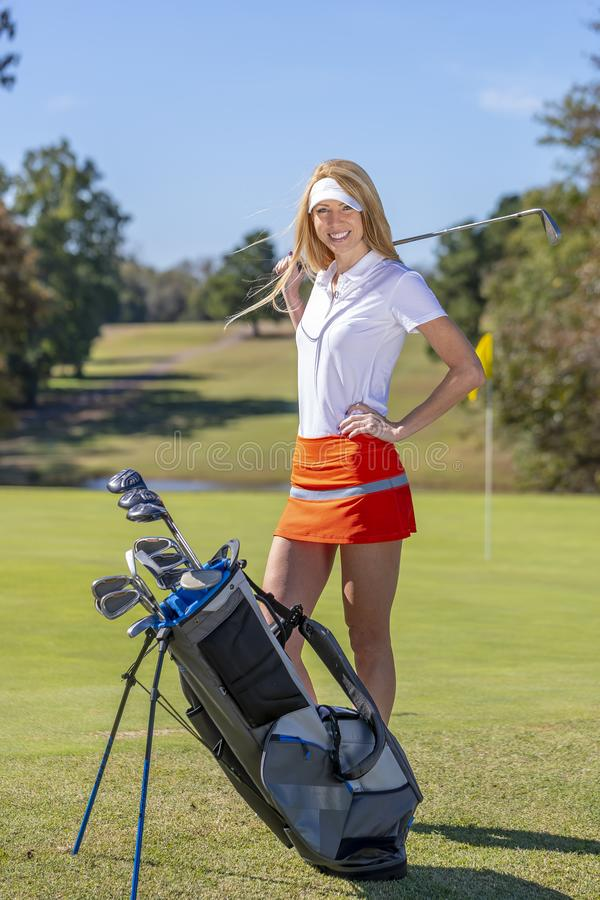 Female Golfer On Golf Course Stock Photo - Image of green