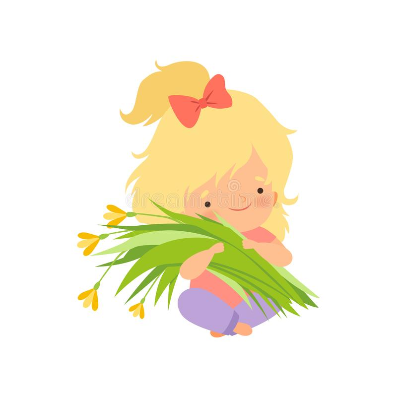 Lovely Blonde Little Girl with Bouquet of Meadow Flowers, Adorable Little Kid Cartoon Character Vector Illustration. On White Background royalty free illustration