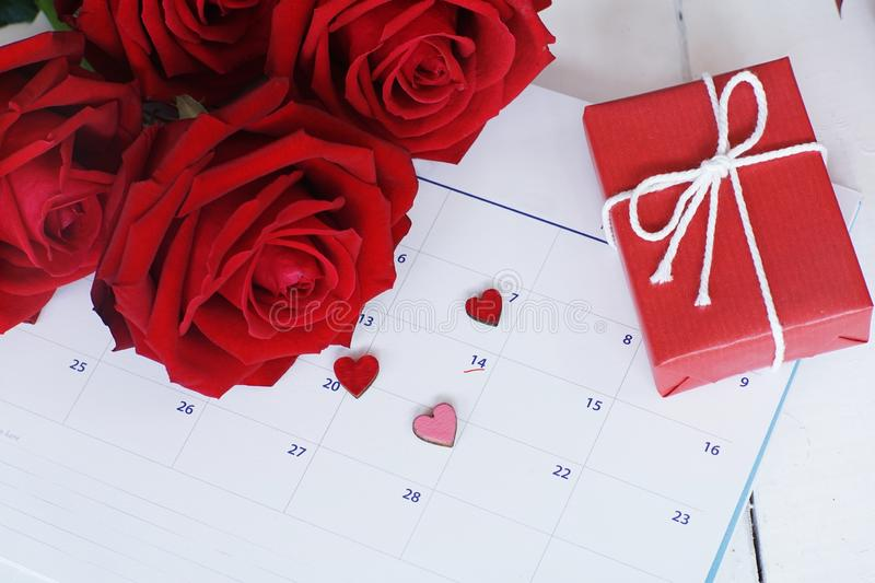 Lovely blooming red color rose flower and elegant gift box on 14 Fab calender background decorated with red ribbon, sweet. Valentine present concept, copy space royalty free stock images