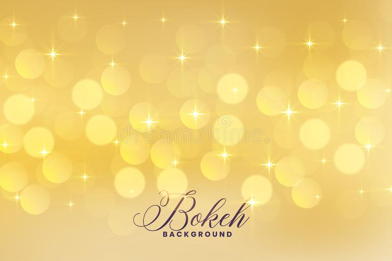 Lovely bokeh lights in golden color with stars vector illustration