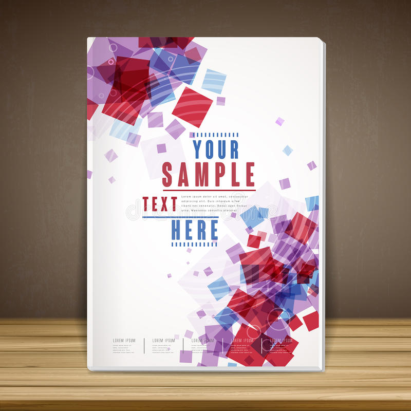 Lovely book cover template design. With translucent squares in red and blue color stock illustration