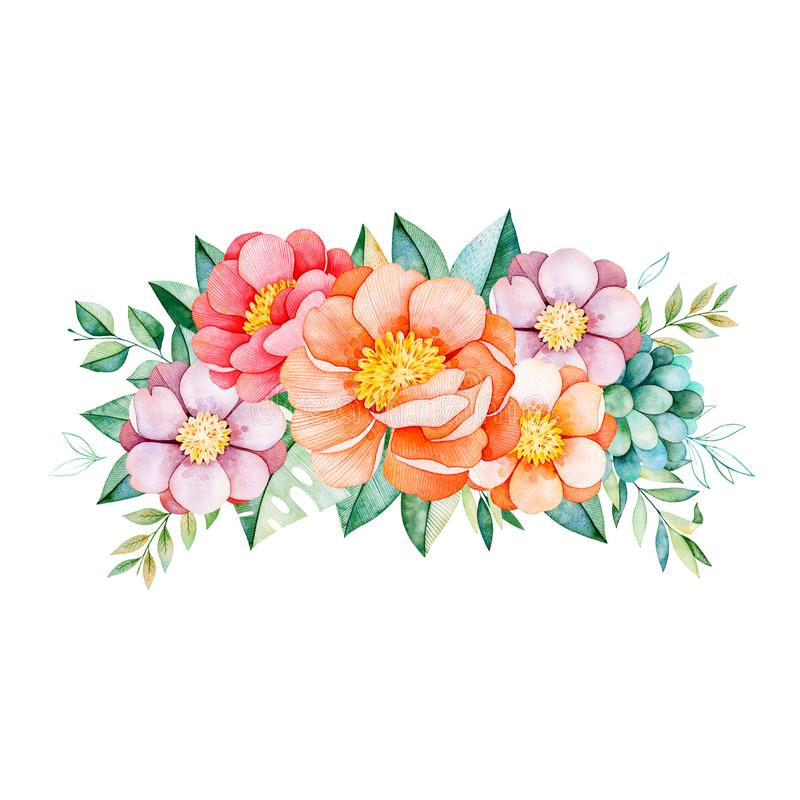 Lovely bouquet with peony,flowers,leaves,flowers,branches,succulent stock illustration