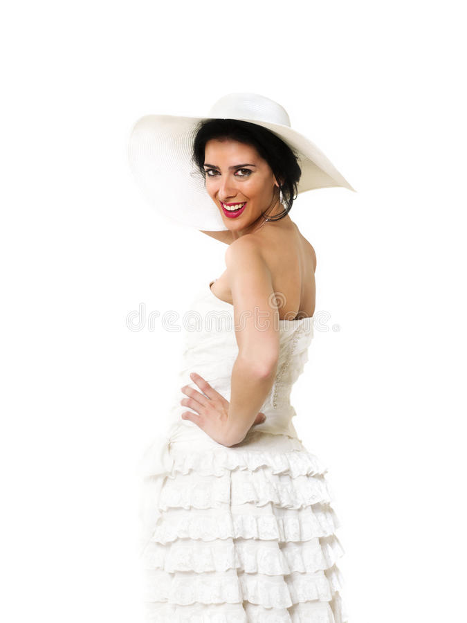 Lovely bride. With a white hat royalty free stock image