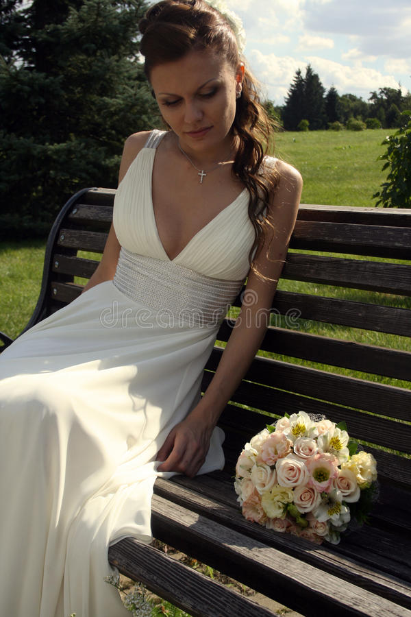 Lovely bride with bouquet stock image
