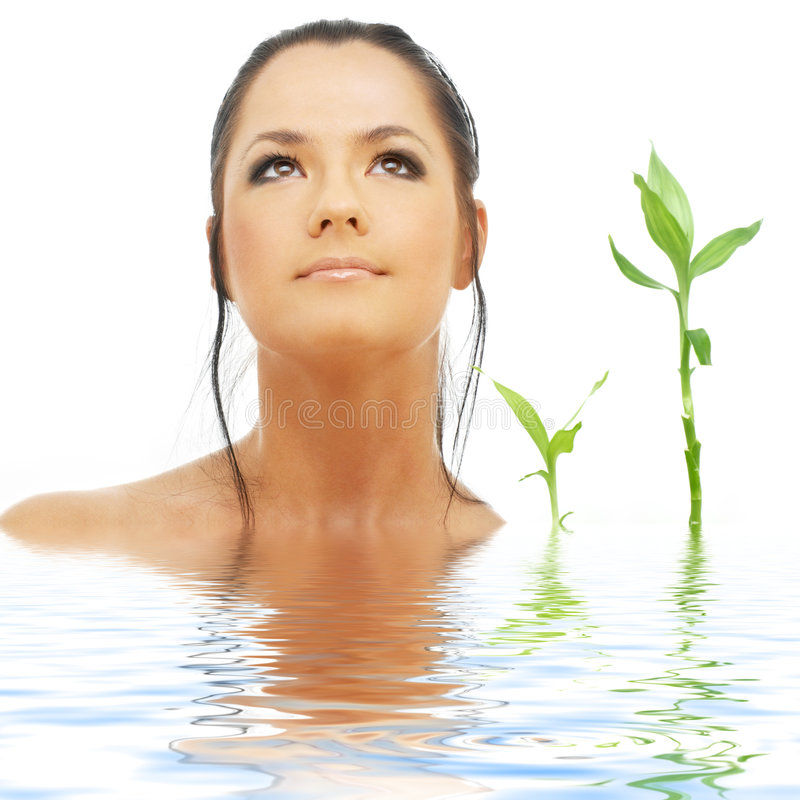 Lovely brunette with bamboo. Picture of lovely brunette with bamboo in water royalty free stock images