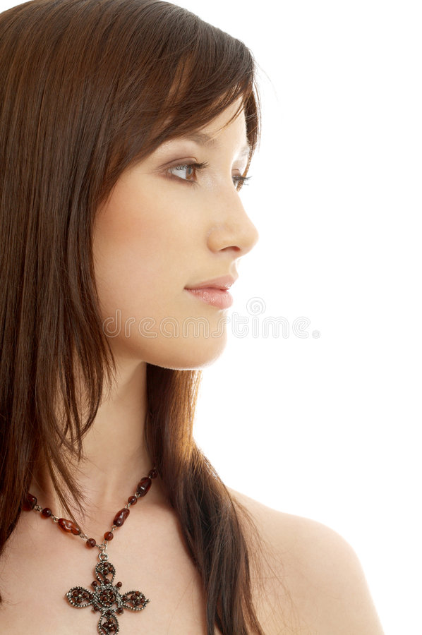 Download Lovely Brunette With Cross Royalty Free Stock Image - Image: 2301026
