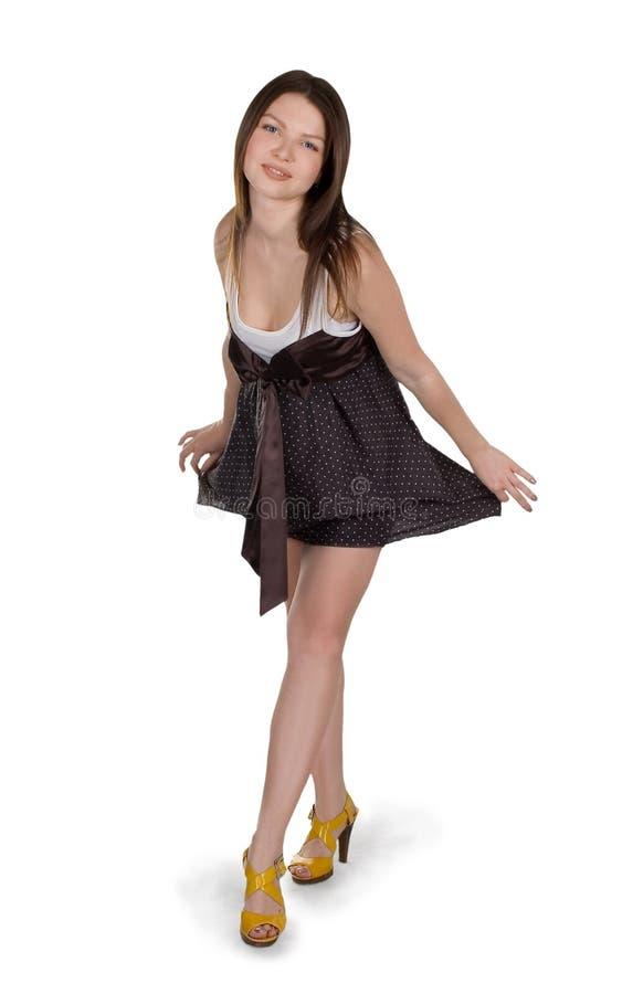 Download Lovely Brunette Girl In Brown Dress Stock Image - Image: 12818315