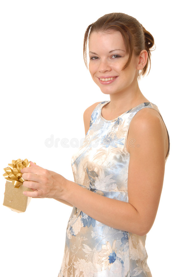 Lovely Brunette Girl with a gift royalty free stock photos
