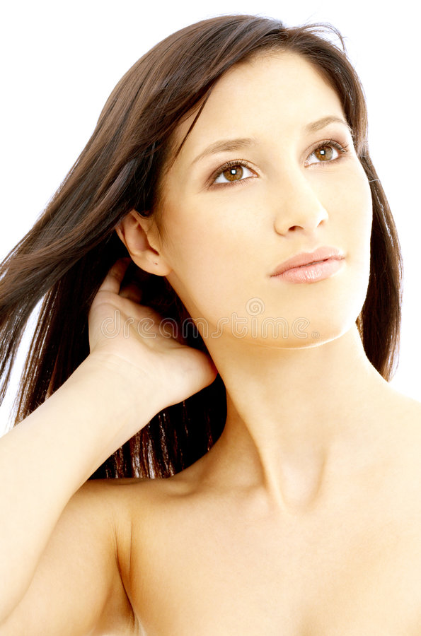 Lovely brunette looking up royalty free stock photo
