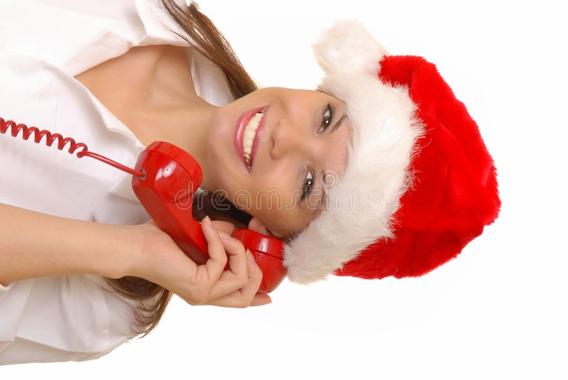 Lovely Brunette Woman On Telephone royalty free stock images