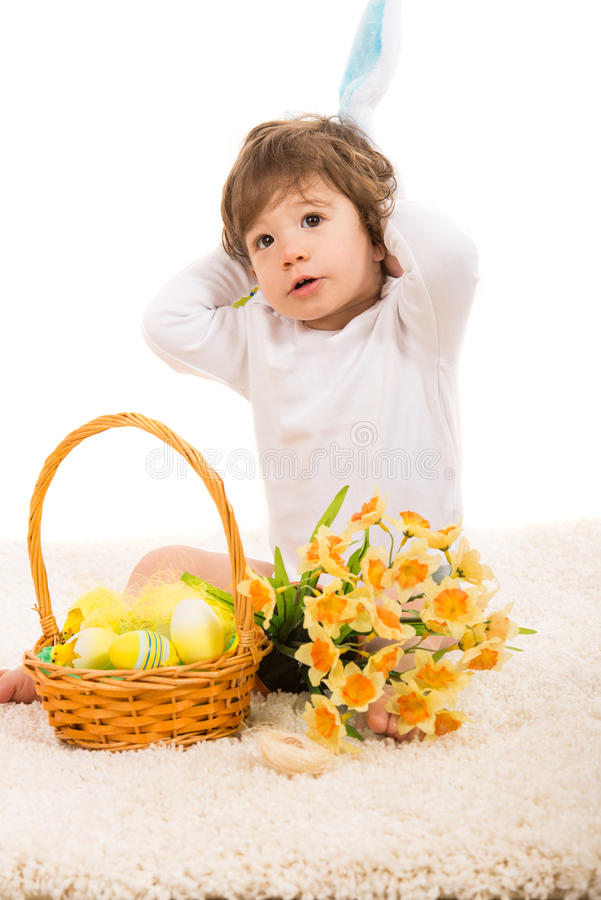 Download Lovely Bunny Boy With Easter Basket Stock Image - Image: 38943347