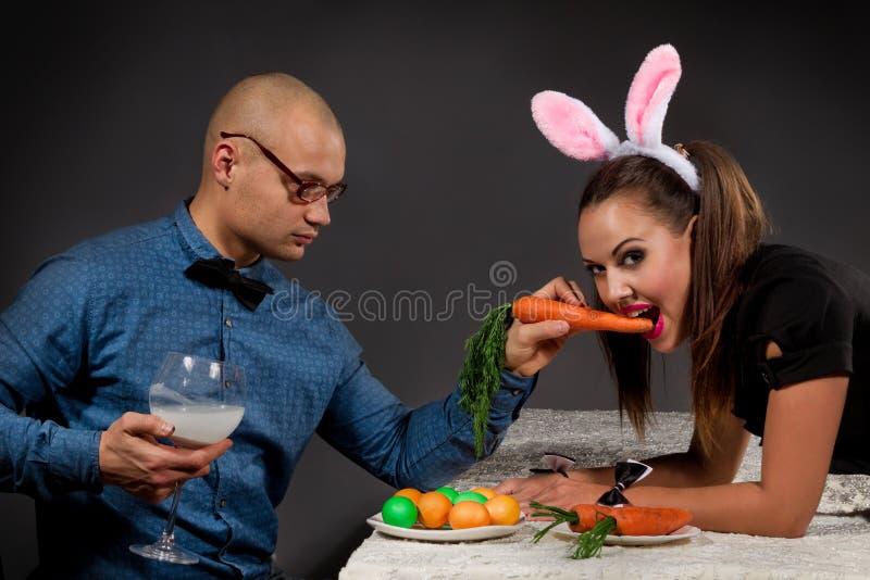 Lovely bunny couple royalty free stock photo