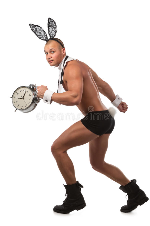 Lovely bunny. Lovely man in rabbit costume with alarm clock stock photography