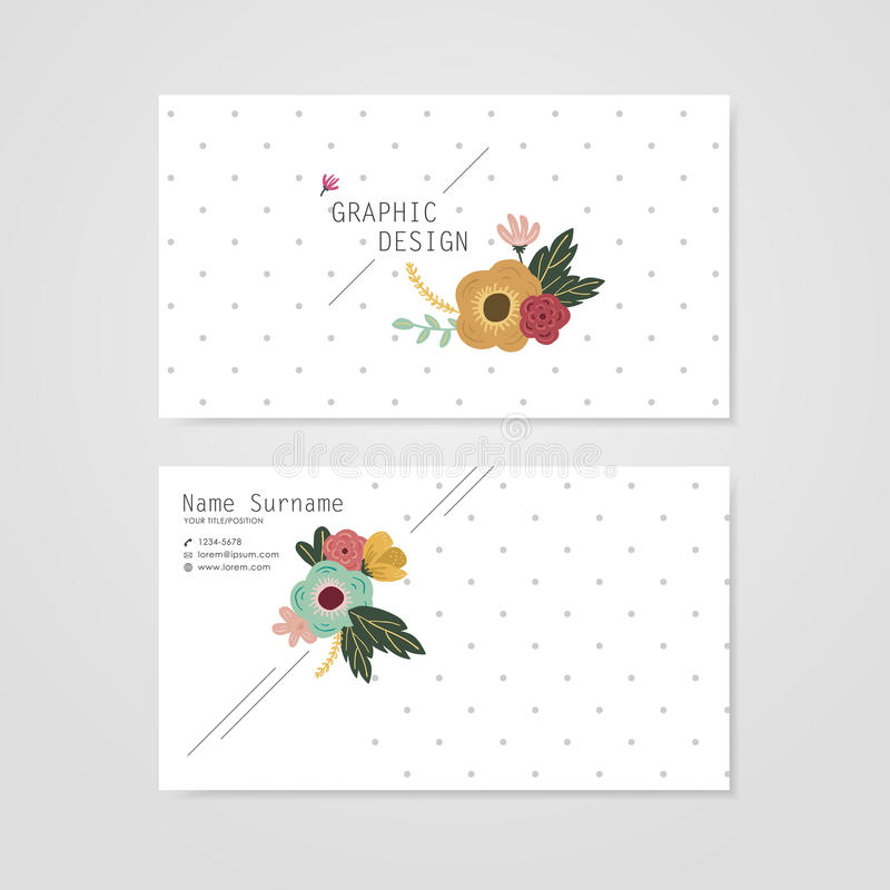 Lovely business card template design. With elegant flower element over grey spotted white background vector illustration