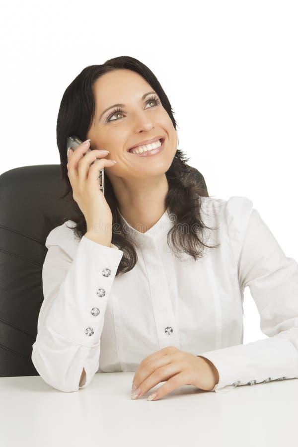 Download Lovely Businesswoman Wearing White Talking Stock Photo - Image: 25506696
