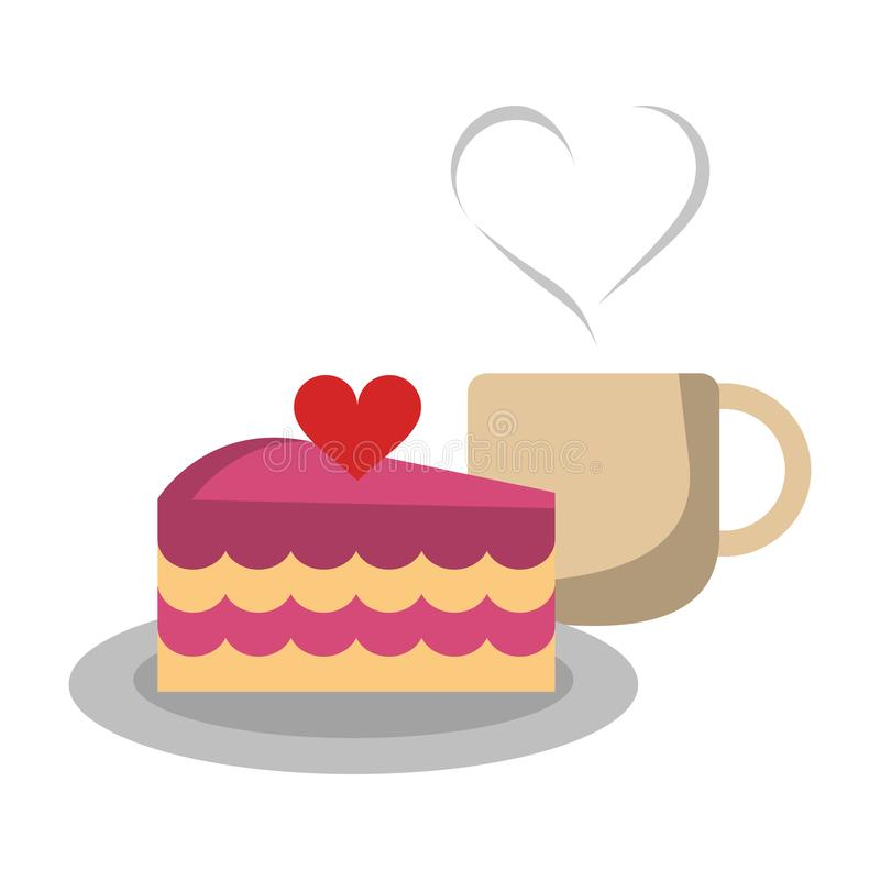 Lovely cake and coffee mug stock vector. Illustration of vector - 139980602