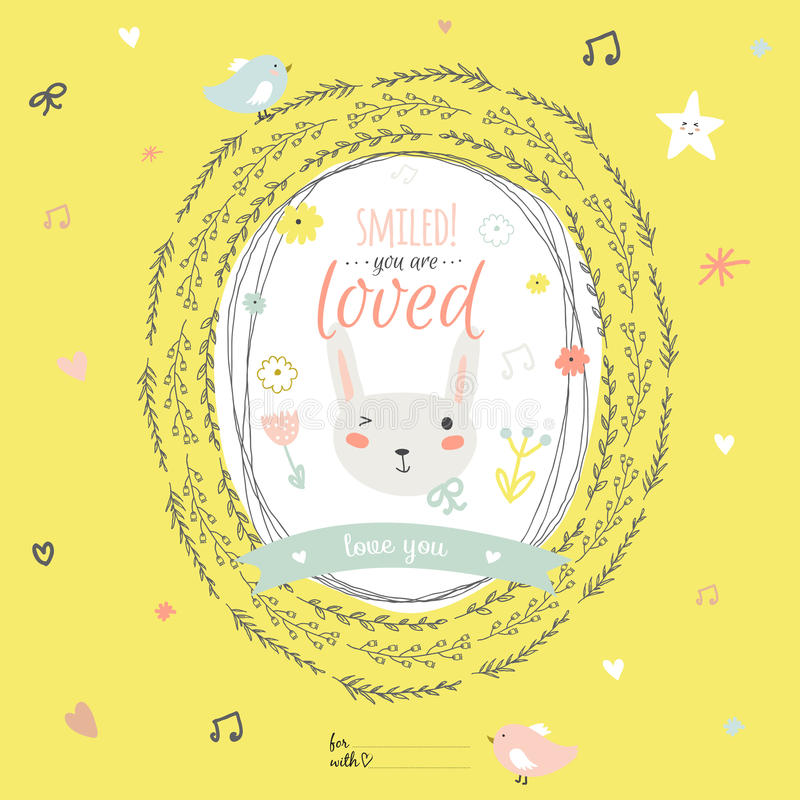 Lovely card with greeting wish and cute bunny in a. Romantic and lovely card with greeting wish and cute bunny in a wreath. Template for wedding, mothers day stock illustration